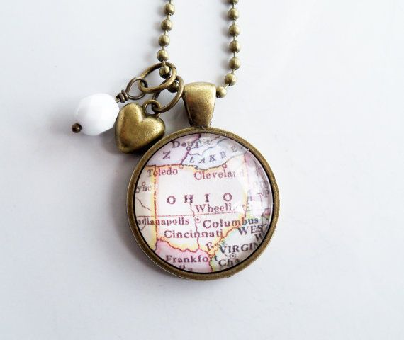 Map of Ohio State Necklace  Map Pendant  Custom by OxfordBright