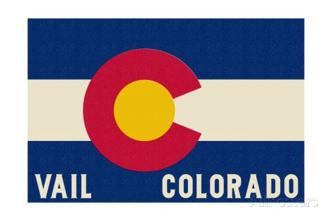 Vail, Colorado - Colorado State Flag Art Print