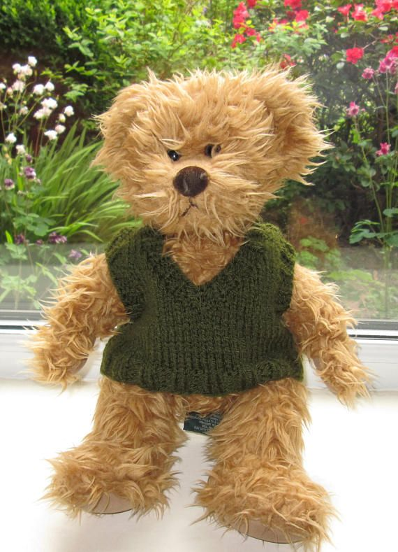 Teddy Bear Clothes Traditional Hand Knitted Green Vest Tank Top