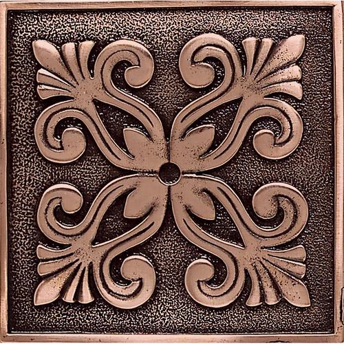 """Massalia Copper 4"""" x 4"""" Frieze Deco Accent Tile- www.conceptcandie.com Concept Candie Interiors-Accent Tiles --Concept Candie Interiors offers virtual interior design services"""
