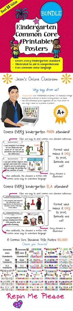 Win Kindergarten Common Core Posters - Math & ELA from Jason's Online Classroom