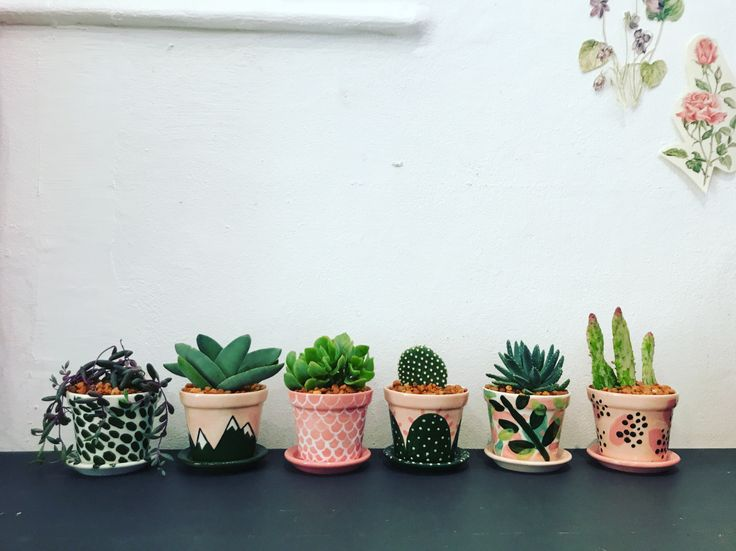 Our hand painted plant pots    www.handmadebyme.co.za