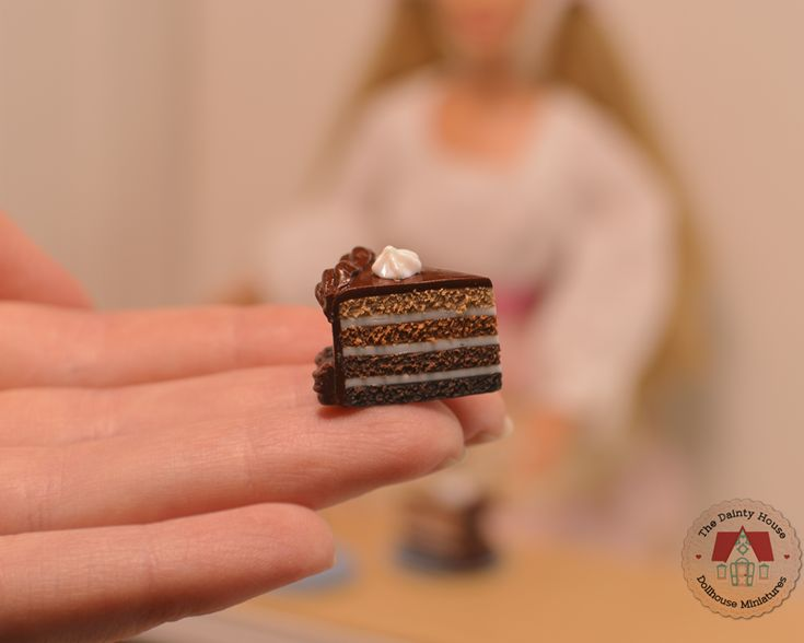 Miniature Chocolate Cake Slices for Barbie or Blythe, 1:6th scale dollhouse desserts