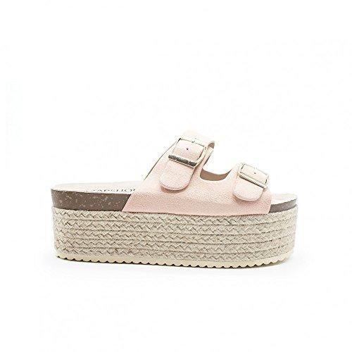 Oferta: 29€ Dto: -14%. Comprar Ofertas de ZAPSHOP - Zapato blucher de plataforma de esparto con dobe hebilla para mujer 37 rosa barato. ¡Mira las ofertas!