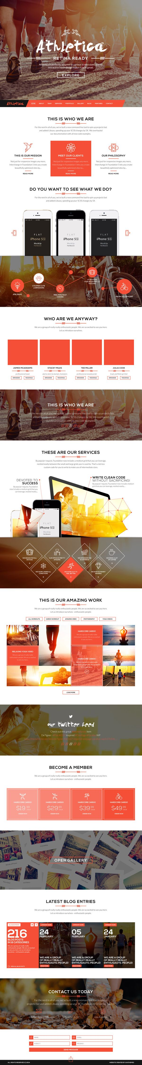 Athletica - Retina Parallax OnePage WP Shop Theme #html5themes