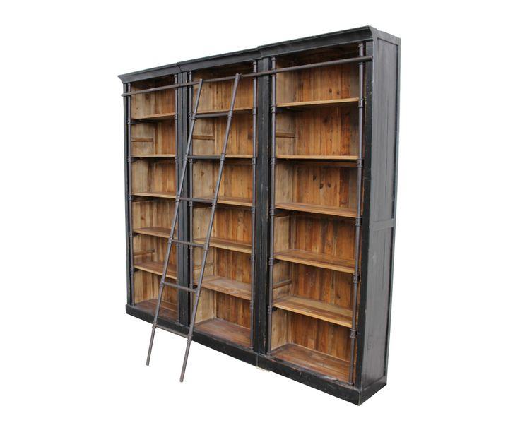 Bibliothèque bois de chêne et fer, noir et naturel - H235 | Westwing Home & Living