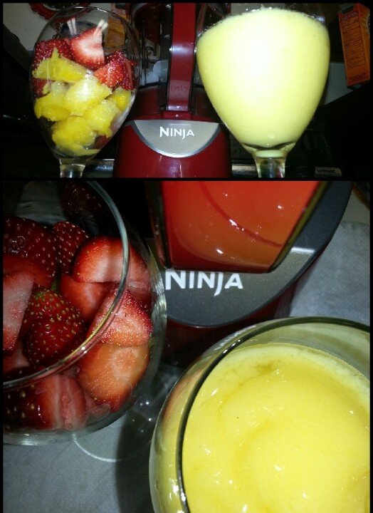 ☆Ninja margaritas☆  Ingredients: ◆Fruit of your choice ◆1 lime for each glass you will be serving.    ◇squeeze 2 tbsp fresh lime juice from 1/2 of the lime the other 1/2 slice for garnish ◆2 tbsp orange juice ◆1 oz tequila ◆1 oz triple sec (or gran marnier) ◆1 tbsp sugar ◆salt ◆Enough ice to fill each glass 2/3  For individual servings: 1) Fill your glass 2/3 with ice cubes - place in blender 2) Clean and chop enough fruit to fill your glass 2/3 - place in blender 3) add lime juice, orange…
