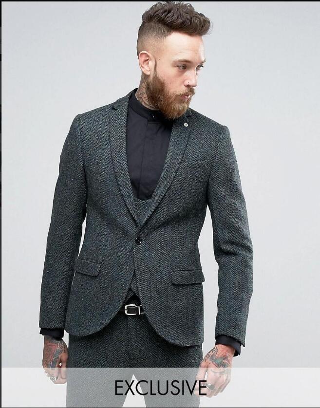 Latest Coat Pant Design Grey Tweed Men Suit Slim Fit Skinny 3 Piece Tuxedo Custom Gentle Blazer Groom Prom Suits Terno Masculino