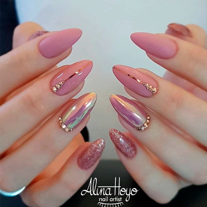 33 Breathtaking Designs For Almond Shaped Nails Nails Design With Rhinestones Soft Pink Nails Nail Designs