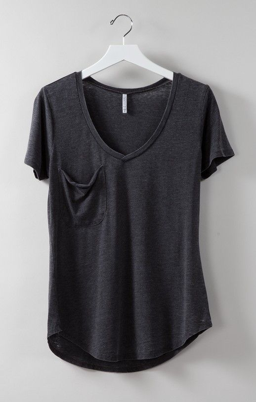 Favorite tee is an understatement. Made from our signature burnout jersey, this tee is complete with a curved v-neckline and a slouchy raw edge pocket. Because of its soft feel and chic fit, you will