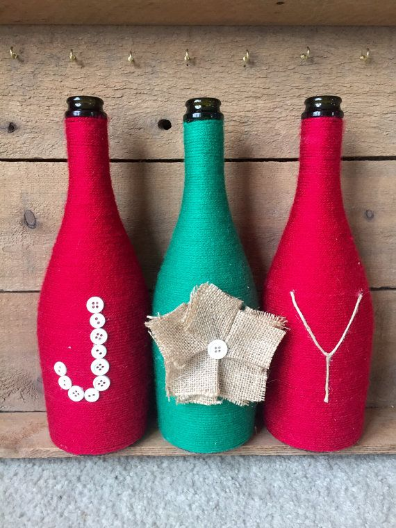 Yarn wrapped bottles wine bottles holiday christmas by HomeEcQueen