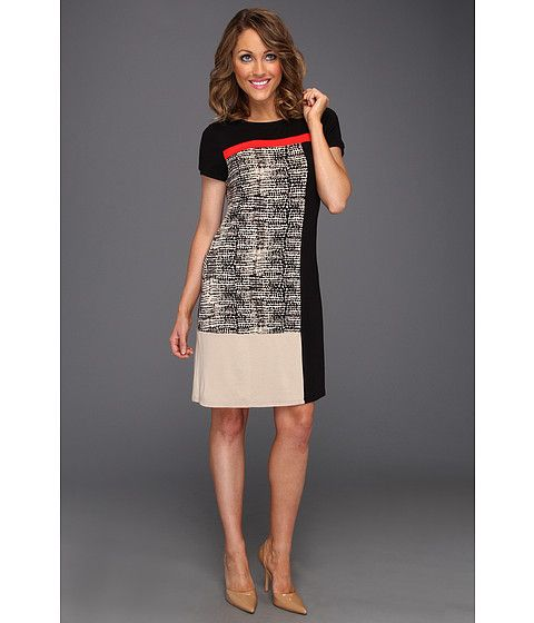 Calvin Klein color block t shirt dress -zappos.com  great composition effect with red, black and white/tan