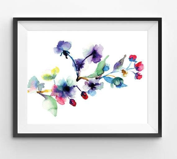 Watercolor Colorful flower watercolor print flower floral