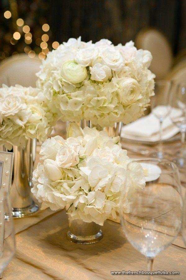 Rehearsal Dinner Fl Arrangements Of White In Silver Vases The French Bouquet Chris Humphrey Photographer Greta S Flowers Pinterest Wedding