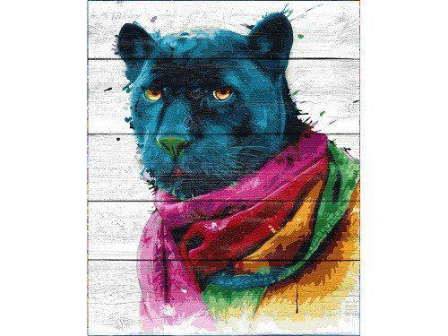Картина по номерам по дереву «Черный ягуар» Патриса Мурсиано, раскраска по номерам