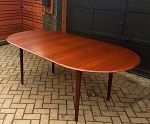 REFINISHED MCM Teak Dining Table Oval Self Storing with butterfly/ jackknife/ pop up leaf extension