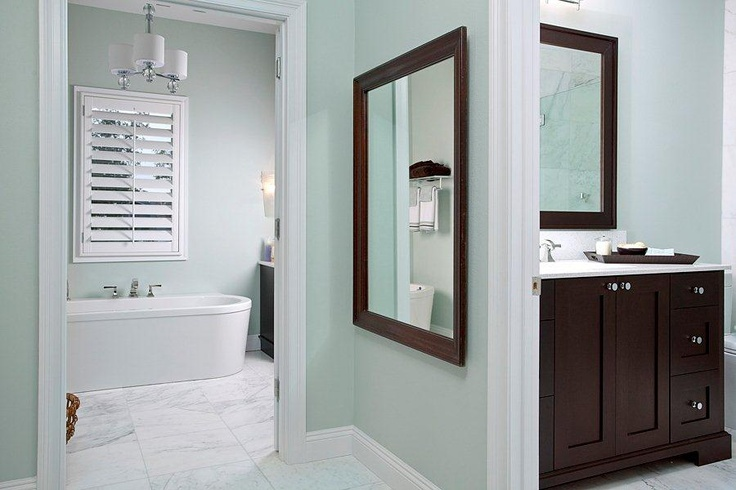 I love the light aqua walls and dark wood in this bathroom ...