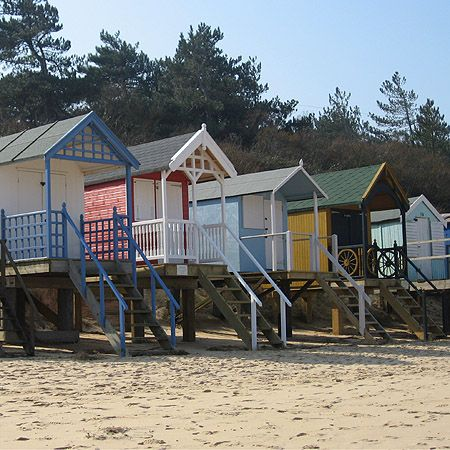 Beach huts in Wells-next-the-Sea, Norfolk, England.