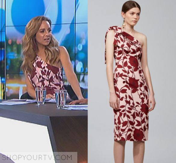 The Project: May 2017 Carrie's Pink Floral Dress   Shop Your TV Carrie Bickmore wears this pink one shoulder midi dress with red floral print in this episode of The Project on Monday the 29th May, 2017.  It is the Keepsake Dream on Dress in Dark Floral Print