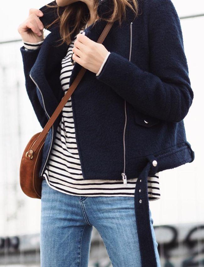 Rayures marinière + laine bleu marine + cuir marron = le bon mix (photo Kristin Hesse)