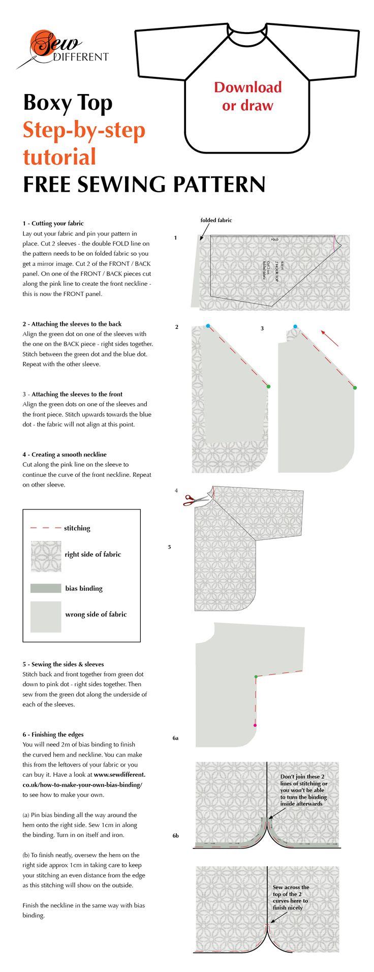 Boxy top free sewing pattern from Sew Different. It says make in 2 hours but I make it in less. Tutorial for every step of the way. I have made this top so many times - looks different in every fabric. Love it!