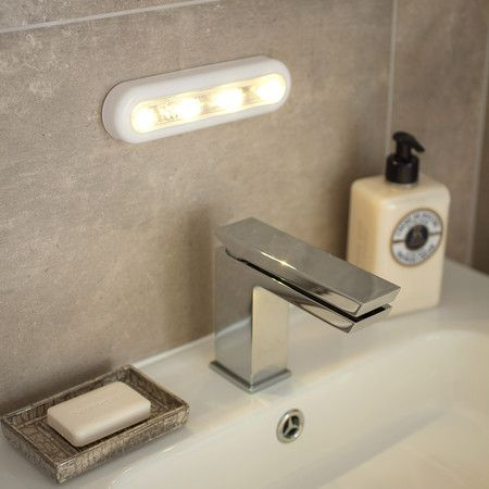 Touch Operated Battery Cupboard Light With 4 Warm White LEDs