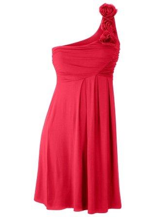 Rode jurk met bloemen