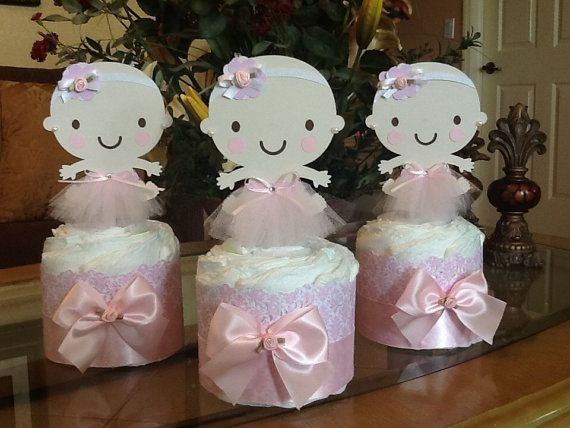 Baby Girl diaper cake set of 3 mini diaper por InspiredbyElena