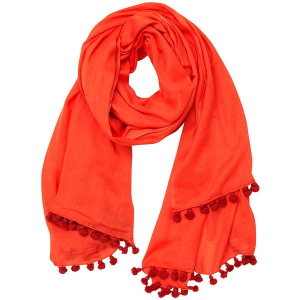 Shop Latitude Bazaar Coral Cotton Pom Pom Scarf ($105) ❤ liked on Polyvore featuring accessories, scarves, red, coral scarves, red shawl, cotton scarves, red scarves e cotton shawl