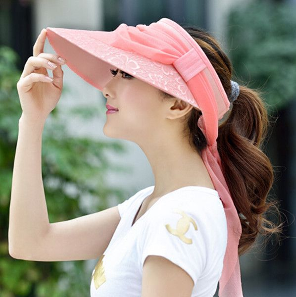 Lace flower visor sun hat for women summer riding sun protection hats package