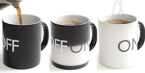 on/off heat sensitive mug! such a cool idea