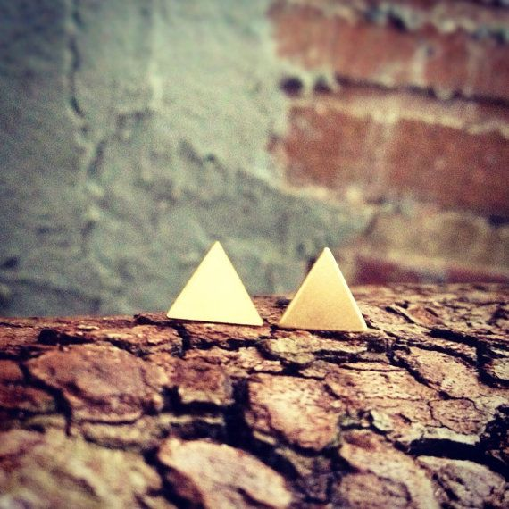 Tiny Brass Triangle Stud Earrings by GramercyEight on Etsy