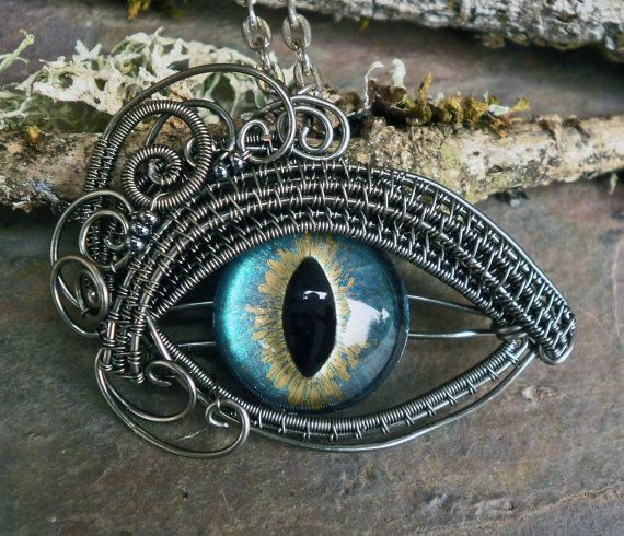 Gothic Steampunk Steel Grey Eye Pendant by Twisted Sister Arts via Etsy