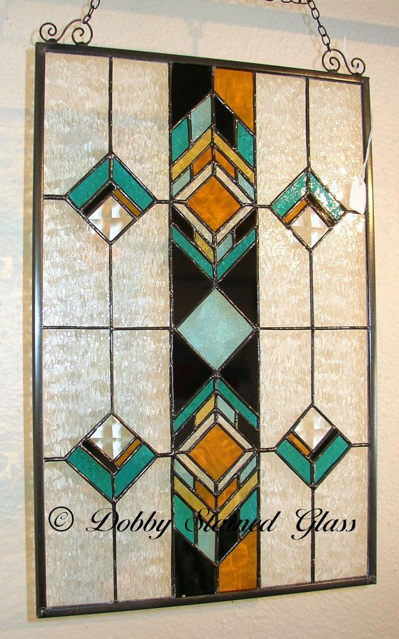 Stained Glass Panel Southwestern by DobbyStainedGlass on Etsy