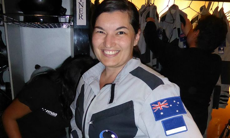 Australia's very own Andrea Boyd ensures everything runs smoothly in outer #space, conducting #science experiments for the #ISS.     Suiting up for Mars at the Victoria Space Science Education Centre