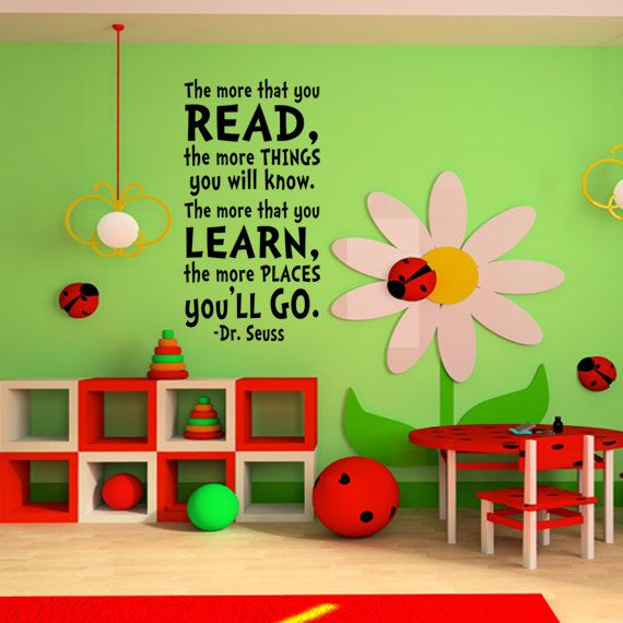 Cute reading area - Dr. Seuss Wall Decal Vinyl Sticker Art Party Shower Child baby or Children's boy or girls kids Decor Quote Mural. $34.99, via Etsy.