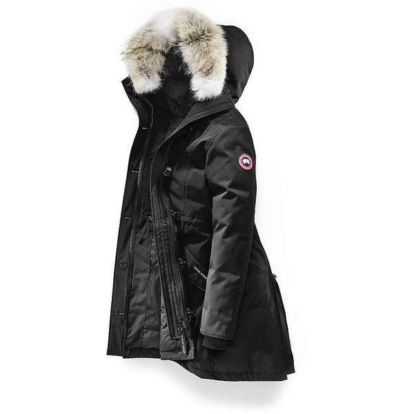 Canada Goose Women's Rossclair Parka (€835) ❤ liked on Polyvore featuring outerwear, coats, black, hooded parka coat, canada goose coats, canada goose parka, hooded coat and hooded parka