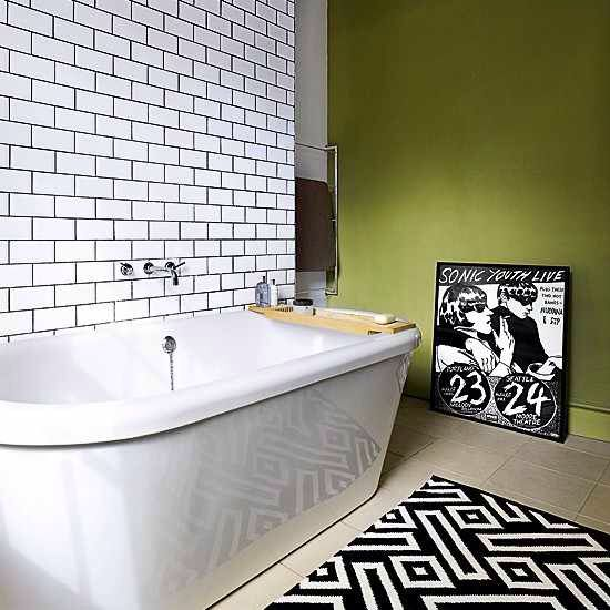 Black grout in white metro tiles residential south - White subway tile with black grout bathroom ...