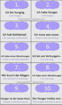 "Ways to say ""I'm Hungry"" and ""I'm Tired"" in German - learn German,communication,vocabulary,german,tired,hungry"