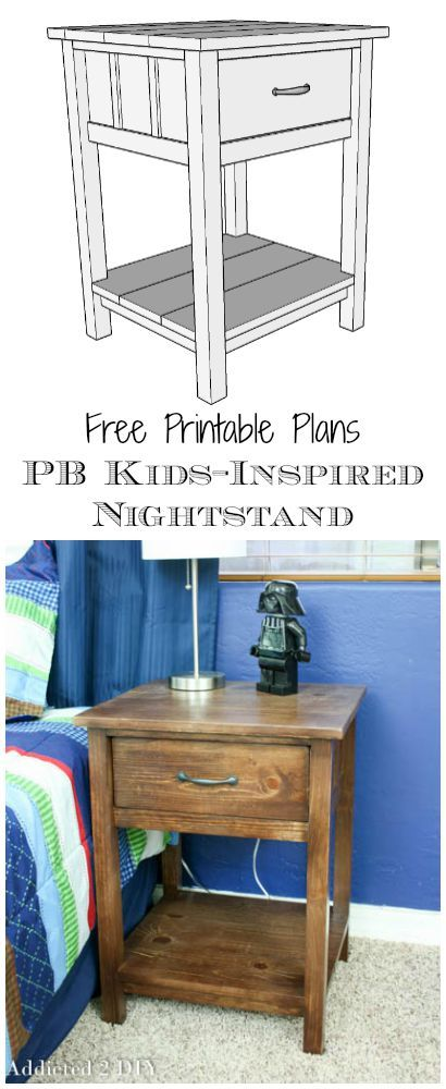 Download and print the FREE plans to build this PB Kids-inspired nightstand for just a fraction of the price of the original!