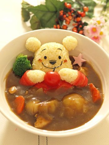 Kawaii Ah Pooh is swimming inside the curry pool <3