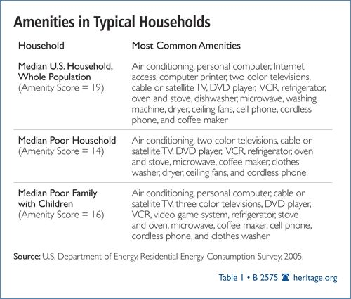 Heritage Foundation: Amenities in Typical Households