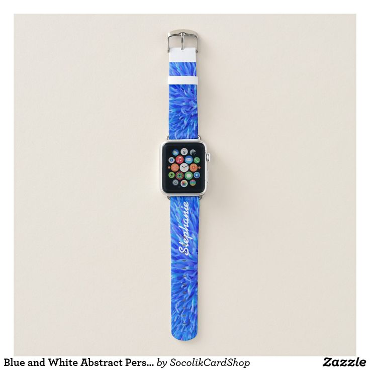 Blue and White Abstract Personalized with Name Apple Watch Band - Personalized Apple Watch Band with our original Blue and White Abstract design! Your name in large white script letters on the strap (you can still see name when watch is on). Easy to change or delete example text. Colorful and festive design! All Rights Reserved © 2017 Alan & Marcia Socolik.