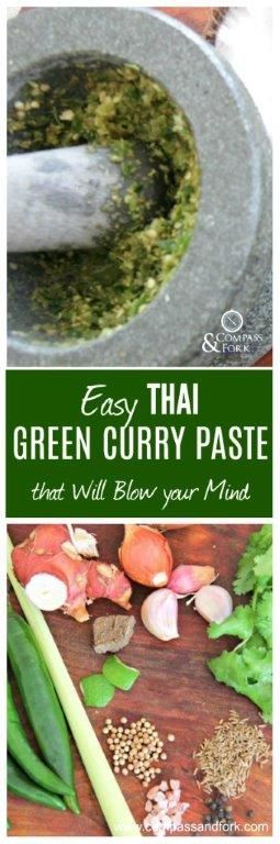 Learn to Make your oen Thai Green Curry Paste at Home- easy, quick and you can freeze it so you always have some on hand. Make delicious Thai Green curries at home with you own paste. gluten free www.compassandfork.com