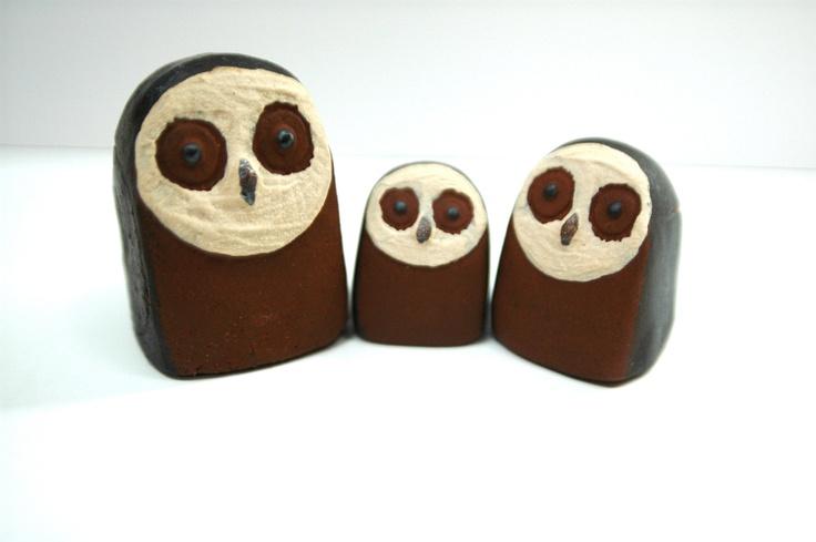 RESERVED Trio of Thyssen Keramik Denmark Owls Danish Modern. $38.00, via Etsy.
