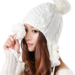 $5.79 Cute Little Ball Embellished Solid Color Knitted Bomber Hat For Women