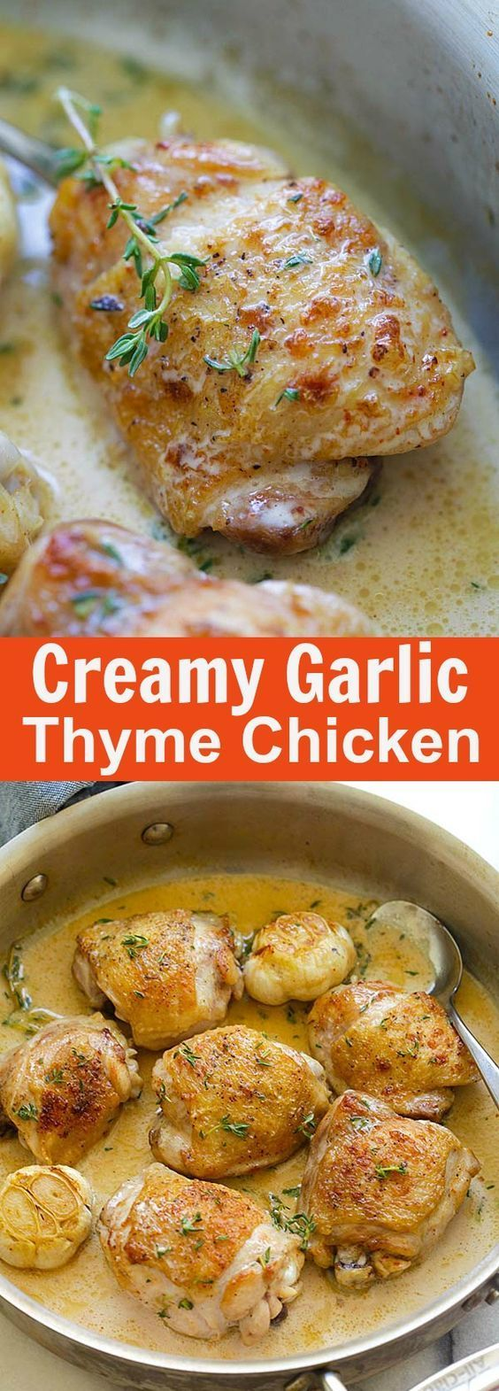 Creamy Garlic Thyme Chicken – delicious pan-fried chicken in a creamy garlic thyme sauce. Easy one-skillet chicken dinner is ready in 20 mins | http://rasamalaysia.com