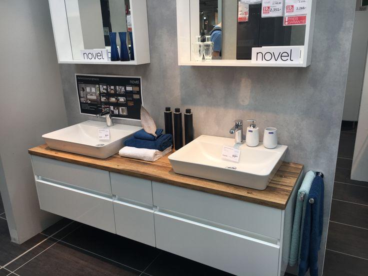 Puris UNIQUE Waschtisch-Set 172 cm mit Keramik-Aufsatz-Waschtischen – Doppelwaschplatz
