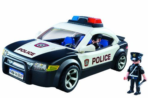 Patrol the city streets with the Police Cruiser This classic white and black police vehicle comes equipped with flashing lights for added effect Access the car's interior through the removable roof. toys4mykids.com