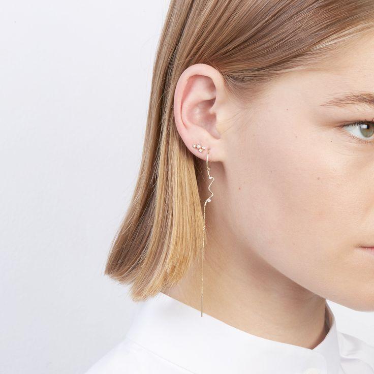 The Lucid Diamond Earrings and Long Sonar Earring by SARAH & SEBASTIAN
